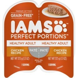 Iams Perfect Portions Grain Free Healthy Chicken Recipe Pate Adult Wet Cat Food, 2.64 oz.