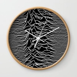 Wall Clock   Joy Division - Unknown Pleasures by Hein - Natural - White - Society6