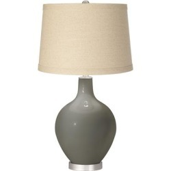 Gauntlet Gray Burlap Drum Shade Ovo Table Lamp found on Bargain Bro from LAMPS PLUS for USD $113.98