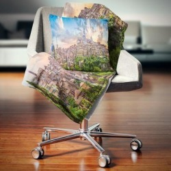 Designart 'Historic City of Siena Panoramic View' Landscape Fleece Throw Blanket (71 in. x 59 in.), Blue, DESIGN ART found on Bargain Bro from Overstock for USD $40.37
