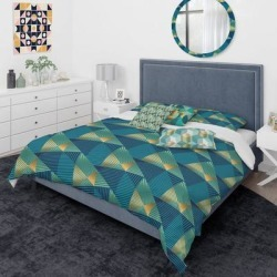 Designart 'Retro Luxury Waves In Gold And Blue VII' Mid-Century Modern Duvet Cover Comforter Set (King Cover + Comforter + 2 Cushions + 2 king Shams), found on Bargain Bro from Overstock for USD $242.81