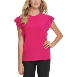 DKNY Womens Pink Solid Cap Sleeve Jewel Neck Top Size M (Pink - M), Women's(knit) found on Bargain Bro India from Overstock for $26.98