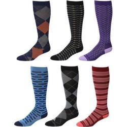 Rexx Men's Compression Socks - Blue & Red Six-Piar Knee-High 15-20 mmHg Compression Socks Set found on Bargain Bro from zulily.com for USD $15.19
