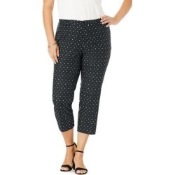 Plus Size Women's Stretch Poplin Straight-Leg Crop Pant by Jessica London in Black Dot (Size 20) found on Bargain Bro Philippines from Ellos for $49.99