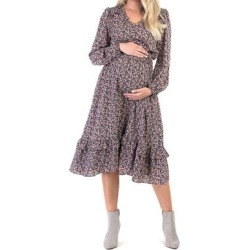 Mother Bee Maternity Women's Casual Dresses NavyFloral1 - Navy Floral Smocked-Waist Maternity Midi Dress found on Bargain Bro from zulily.com for USD $18.99