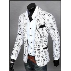 The New Men's Casual Slim Floral Fashion City Suit Jacket (White - XL)(cotton) found on MODAPINS from Overstock for USD $39.79