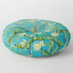 Floor Pillow   Almond Blossoms Painting By Vincent Van Gogh Oil Painting by Vincent Van Gogh - ROUND - 30