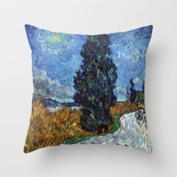 Throw Pillow   Vincent Van Gogh - Road With Cypress And Star by Elegant Chaos Gallery - Cover (16