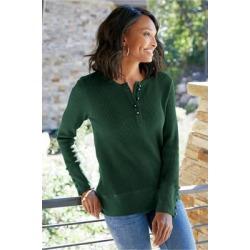 Women's Heraea Henley Shirt by Soft Surroundings, in Dark Green size XS (2-4)