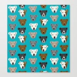 Canvas Print | Pitbull Faces Dog Art Dog Pattern Pitbulls Cute Gifts For Rescue Dog Owners by Petfriendly - LARGE - Society6 found on Bargain Bro from Society6 for USD $101.60
