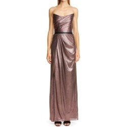 Metallic Lamé Strapless Gown - Metallic - Marchesa notte Dresses found on MODAPINS from lyst.com for USD $334.00