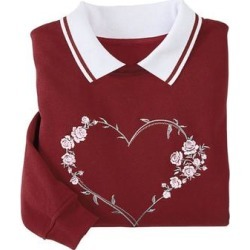 Haband Womens Embroidered Fleece Sweatshirt, Crimson Red, Size L found on Bargain Bro Philippines from Haband for $19.99