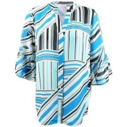 Calvin Klein Women's Plus Size Printed Bell-Sleeve Tunic (0X, Adriatic/White) (Adriatic/White)(polyester) found on Bargain Bro Philippines from Overstock for $44.99