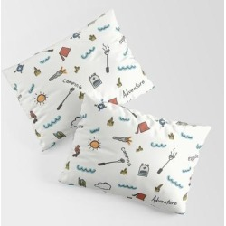 Adventure Pattern | Camping Pattern | Hiking Pattern | Hand Drawn Outdoors Pattern King Size Pillow Sham by Sara Pimental - STANDARD SET OF 2 - Cotton found on Bargain Bro from Society6 for USD $30.39