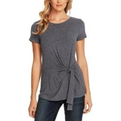 Vince Camuto Womens Peplum Top Striped Crewneck (Indigo Night - XS), Women's, Blue Black(rayon) found on Bargain Bro India from Overstock for $28.02