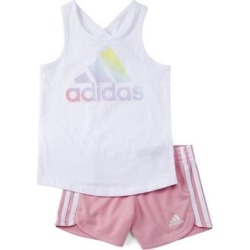 adidas Girls' Active Shorts WHT - White & Light Pink Logo Tank & Shorts - Girls found on Bargain Bro Philippines from zulily.com for $22.99