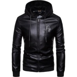 Men's Faux Leather Jacket Black With Hood Motorcycle Bomber Slim Fit (Black - XS) found on Bargain Bro India from Overstock for $67.37