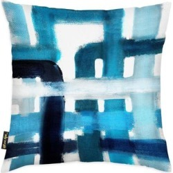 Oliver Gal 'Blues in Love' Abstract Decorative Throw Pillow Paint - Blue, White (18 x 18)(Microfiber) found on Bargain Bro from Overstock for USD $40.42