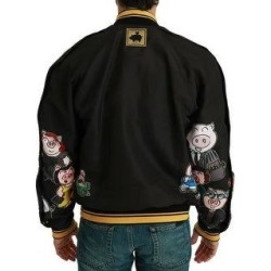 Dolce & Gabbana Black YEAR OF THE PIG Bomber Men's Jacket (it52-xl)(polyester) found on Bargain Bro India from Overstock for $767.00