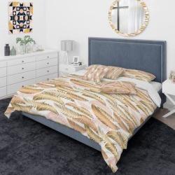 Designart 'Golden Tropical Pattern III' Mid-Century Modern Duvet Cover Comforter Set (Twin Cover + Comforter + 2 Cushions + 1 Sham), Green, DESIGN ART found on Bargain Bro from Overstock for USD $215.45