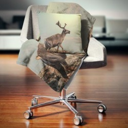 Designart 'Reindeer on Top of the Mountain' Animal Throw Blanket found on Bargain Bro from Overstock for USD $50.71