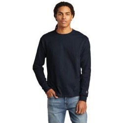 Champion Men's Cotton Long Sleeve Tee (Navy - L), Blue found on Bargain Bro Philippines from Overstock for $19.34
