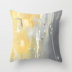 Couch Throw Pillow | 50 Shades Of Grey And Yellow by Julie Ahmad - Cover (16