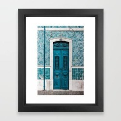 Framed Art Print | Blue Door Print Lisbon Poster Portugal Print Doorway Print Urban Architecture Photography Print by The Middle Village - Vector Black - X-Small-10x12 - Society6