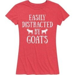 Instant Message Women's Women's Tee Shirts HEATHER - Heather Red 'Easily Distracted By Goats' Relaxed-Fit Tee - Women & Plus