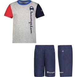 Champion Boys' Active Shorts OXFORD - Oxford Heather Color Block Vertical Logo Tee & Navy Logo Mesh Shorts - Toddler & Boys found on Bargain Bro from zulily.com for USD $9.87