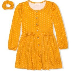 Young Hearts Girls' Casual Dresses YELLO - Yellow Polka Dot Bow-Accent Button-Up A-Line Dress & Scrunchie - Infant & Toddler found on Bargain Bro Philippines from zulily.com for $9.79