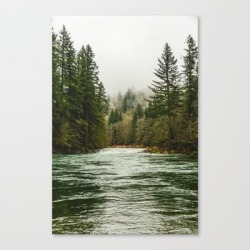 Wanderlust Forest River - Mountain Adventure In Foggy Woods Canvas Print by Cascadia - LARGE