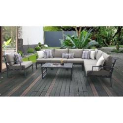 Lexington 8 Piece Outdoor Aluminum Patio Furniture Set 08d in Ash - TK Classics Lexington-08D