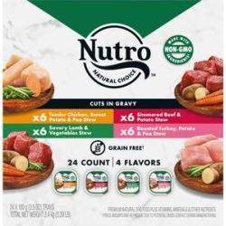 Nutro Grain-Free Beef, Chicken, Turkey & Lamb Stew Cuts in Gravy Variety Pack Dog Food Trays, 3.5-oz, case of 24