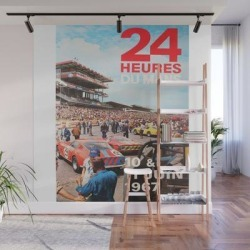 Wall Mural | 24hs Le Mans 1967, Vintage Poster by Alma Design - 8' X 8' - Society6 found on Bargain Bro India from Society6 for $209.99