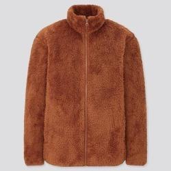UNIQLO Men's Fluffy Yarn Fleece Full-Zip Jacket, Orange, L found on Bargain Bro India from Uniqlo for $14.90