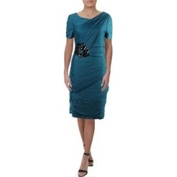 petite Halston Heritage Women's Ruched Sequined Short Sleeve Cocktail Dress (Blue - XS)(nylon, embroidered) found on MODAPINS from Overstock for USD $21.39