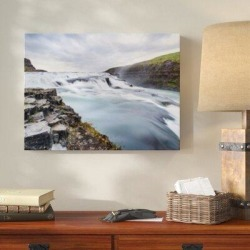 Millwood Pines 'Waterfall (45)' Photographic Print on Canvas Canvas & Fabric in Blue/Brown/Gray, Size 8.0 H x 8.0 W x 2.0 D in   Wayfair found on Bargain Bro Philippines from Wayfair for $75.99