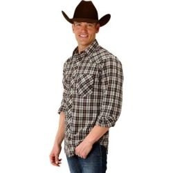 Roper Western Shirt Mens L/S Plaid Snap Brown (XL), Men's(cotton) found on Bargain Bro India from Overstock for $36.57