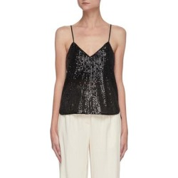 Lynette' V Neck Sequin Camisole Top - Black - Jonathan Simkhai Tops found on Bargain Bro India from lyst.com for $310.00