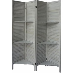 Plank 4 Panel Folding Divider Privacy Screen with 9 Storage Shelves and Metal Hinges, White found on Bargain Bro Philippines from Overstock for $219.49