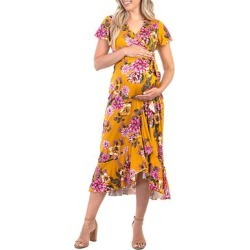 Mother Bee Maternity Women's Casual Dresses SummerFloral1 - Yellow & Pink Floral Maternity Surplice Dress found on Bargain Bro from zulily.com for USD $17.47