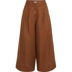 Varca Pleated Linen Culottes - Brown - Nicholas Pants found on MODAPINS from lyst.com for USD $177.00