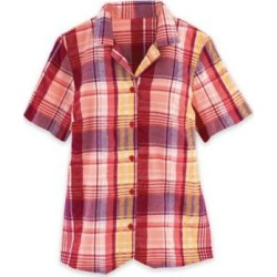 Women's Plus Seersucker Weskit Top, Classic Red Plaid 3XL found on Bargain Bro India from Blair.com for $25.99