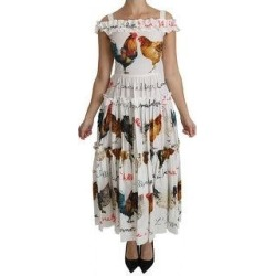 Dolce & Gabbana White Rooster Sheath Midi Cotton Women's Dress (it42-m) found on Bargain Bro India from Overstock for $993.00