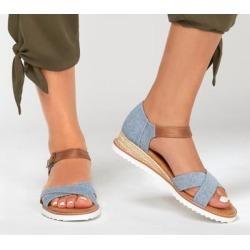 Skechers Women's BOBS Desert Kiss - Party Crashers Sandals, Blue, 8.5 found on Bargain Bro Philippines from SKECHERS.com for $50.00