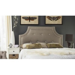 Safavieh Tallulah Smoke/ White Piping Upholstered Arched Headboard (King) , Black found on Bargain Bro Philippines from Overstock for $339.97