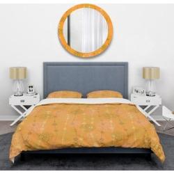 Designart 'Retro handdrawn flowers III' Mid-Century Duvet Cover Set (Twin Cover + 1 sham (comforter not included)), Orange, DESIGN ART found on Bargain Bro India from Overstock for $101.99