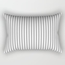 Rectangular Pillow | Ticking Narrow Striped Pattern In Dark Black And White by Kirstiepaige - Small (17
