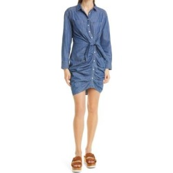 Sierra Ruched Long Sleeve Denim Dress - Blue - Veronica Beard Dresses found on Bargain Bro India from lyst.com for $398.00